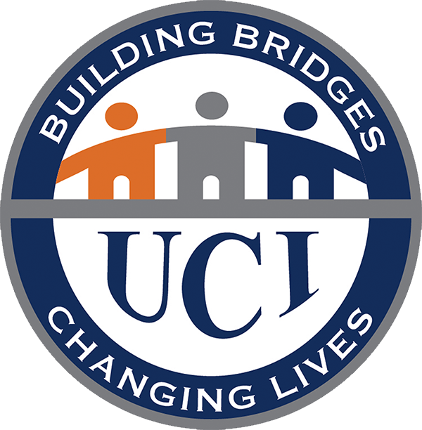 UCI round logo, building bridges, 3 stick figures holding hands.