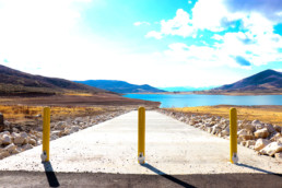 Newly installed boat ramp at side of lake