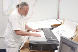Inmate scanning map with large document scanner
