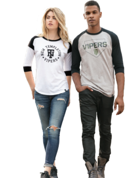 Woman and Man modeling printed shirts